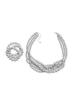 Beaded Necklace and Bracelet Set,
