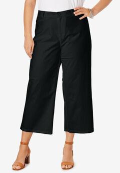 Wide-Leg Stretch Poplin Crop Pant,