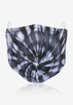2-Layer Extra Large Reusable Cotton Face Mask - Men's, BLACK WHITE TIE DYE