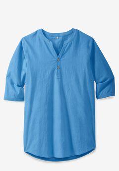 Gauze Mandarin Collar Shirt,