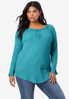 Lace Henley Thermal Knit Top,