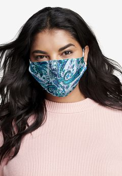 2-Layer Reusable Cotton Face Mask - Women's, BLUE PAISLEY
