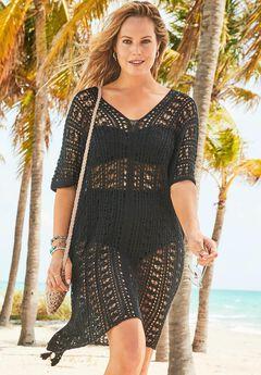 Ada Crochet Cover Up Tunic, BLACK