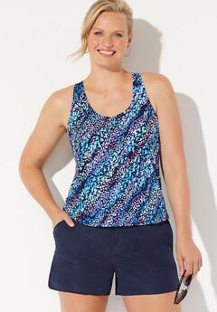 Chlorine Resistant Racerback Tankini Set with Cargo Short,