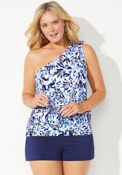 One Shoulder Blouson Tankini Set with Banded Short,