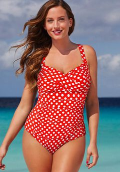 Ruched Twist Front One Piece Swimsuit, RED POLKA DOT