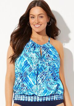 High Neck Blouson Tankini Top,