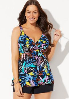 Bra Sized Sweetheart Underwire Tankini Set with Banded Short,