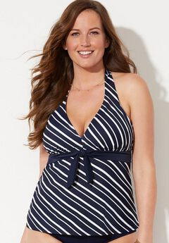 Halter Tankini Top, NAVY STRIPE