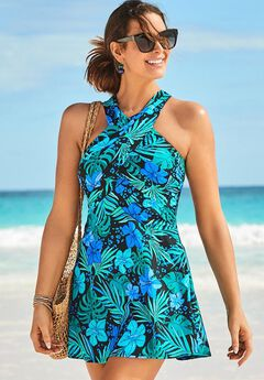 High Neck Wrap Swimdress,