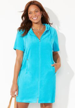 Alana Terrycloth Cover Up Hoodie, CRYSTAL BLUE