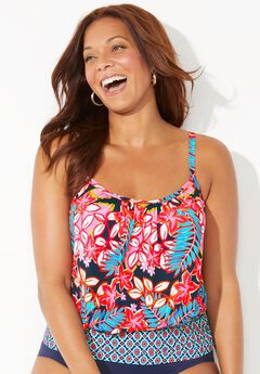 Lightweight Blouson Tankini Top, TROPICAL