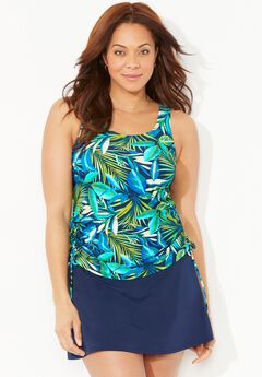 Side-Tie Adjustable Tankini Set with Skirt,