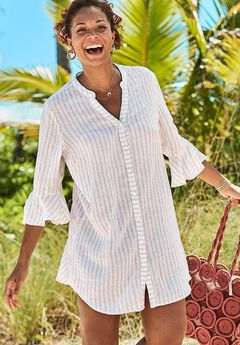 Sandra Button Up Cover Up Shirt, NATURAL