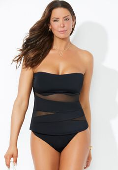 Mesh Wrap Bandeau Tankini Set with Cheeky Brief,