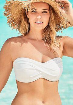 Valentine Ruched Bandeau Bikini Top, WHITE