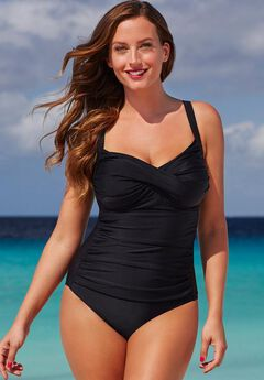 Ruched Twist Front One Piece Swimsuit, BLACK