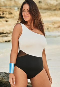 One Shoulder One Piece Swimsuit, BLACK CREAM
