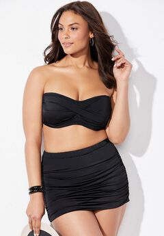 Valentine Ruched Bandeau Bikini Set with Skirt,