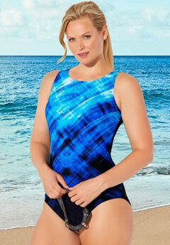 Chlorine Resistant Lycra Xtra Life High Neck One Piece Swimsuit, BLUE ENGINEERED