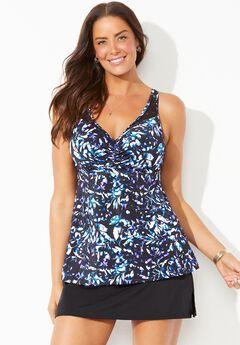 Bra Sized Crochet Underwire Tankini Set with Side Slit Skirt,