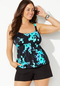 Flared Tankini Set with Cargo Short,