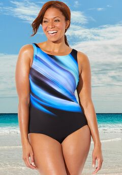 Chlorine Resistant Lycra Xtra Life High Neck One Piece Swimsuit, ABSTRACT