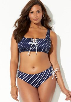 Mariner Lace Front High Waist Bikini Set,