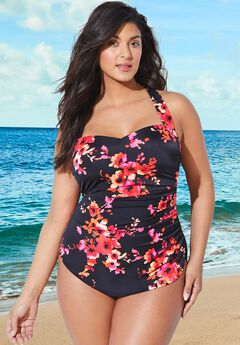 Chlorine Resistant H-Back Sarong Front One Piece Swimsuit,