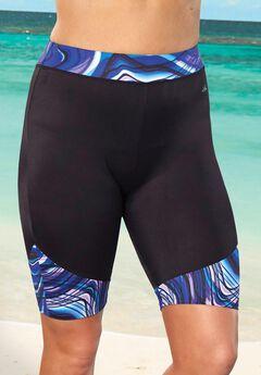 Chlorine Resistant Printed Swim Bike Short, WHIRLS