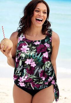Side Tie Blouson Tankini Top, WINE PINK FLOWER