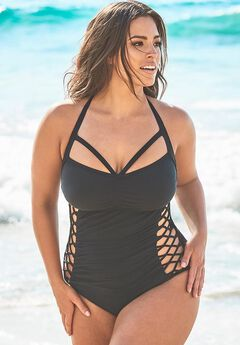 Ashley Graham Boss Underwire One Piece Swimsuit, BLACK