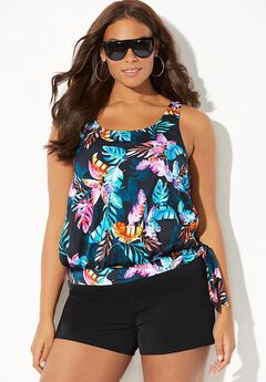 Side Tie Blouson Tankini Set with Banded Short,