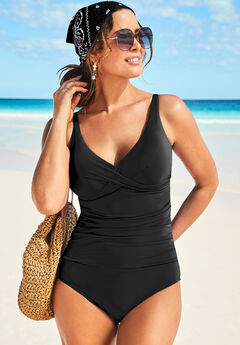 V-Neck One Piece Swimsuit, BLACK
