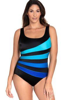 Longitude Blue Fan Tank One Piece Swimsuit,