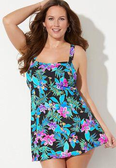 Princess Seam Swimdress, BLACK PINK FLORAL