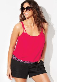 Loop Strap Blouson Tankini Set with Cargo Short,