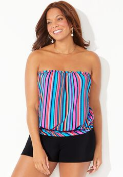 Bandeau Blouson Tankini Set with Banded Short,