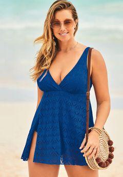 Crochet Side Slit V-Neck Swimdress, CABANA BLUE