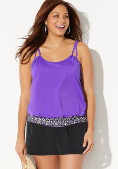Loop Strap Blouson Tankini Set with Skirt,