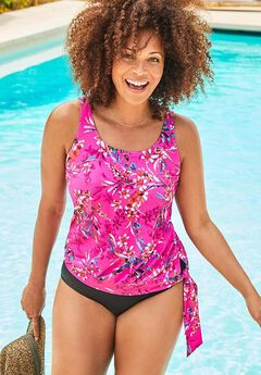 Side Tie Blouson Tankini Set,