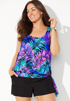 Side Tie Blouson Tankini Set with Cargo Short,