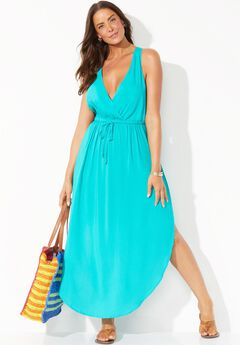 Tenley Surplice Cover Up Maxi Dress, HAPPY TURQ