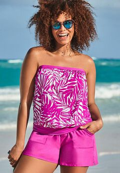 Bandeau Blouson Tankini Set with Cargo Short,