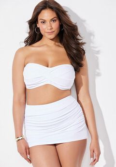 Valentine Ruched Bandeau Bikini Set with Skirt,