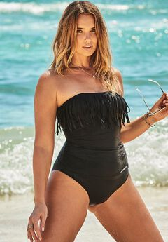 Fringe Bandeau One Piece Swimsuit, BLACK