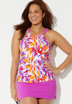 High Neck Tankini Set with Side Slit Skirt,