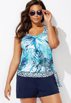 Side Tie Blouson Tankini Set with Loose Short,