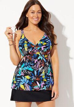 Bra Sized Sweetheart Underwire Tankini Set with Side Slit Skirt,