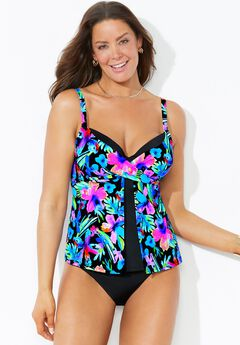 Faux Flyaway Underwire Tankini Set with Cheeky Brief,